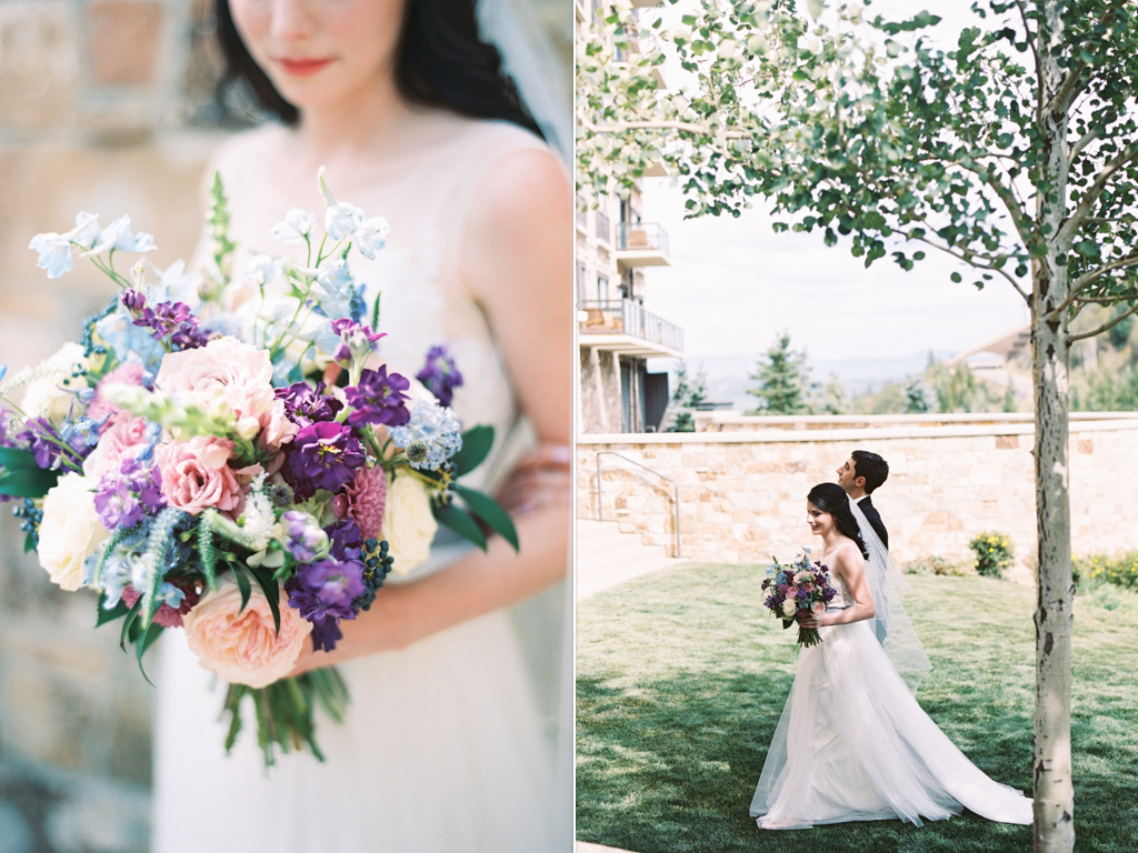 blue lavender english wedding bouquet, stunning summer wedding bouquets, St. Regis Deer Valley Wedding, park city utah destination wedding, purple blue wedding bouquet ideas, wedding flowers utah calie rose www.calierose.com