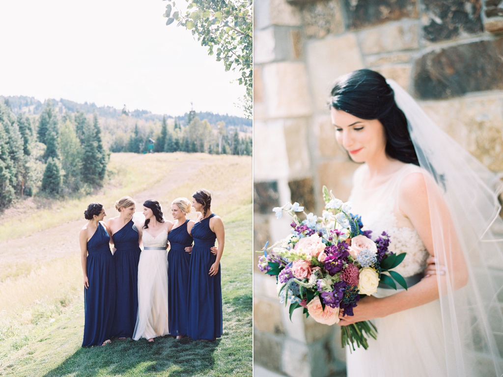 Stunning summer lavender purple blue wedding bouquet ideas, St. Regis Deer Valley Summer Wedding, Park City Summer Mountain Wedding, St. Regis Park City Garden Wedding, navy bridesmaids dresses, navy wedding, navy purple lavender wedding bouquet flowers, utah destination park city wedding flowers utah calie rose www.calierose.com