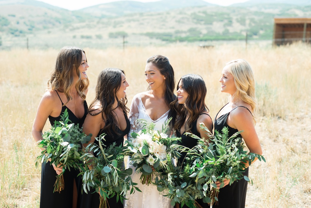 Tag Ranch Destination Park City Utah Wedding Flowers Calie Rose greenery bridesmaids bouquets white and black wedding inspiration pantone color of the year greenery wedding