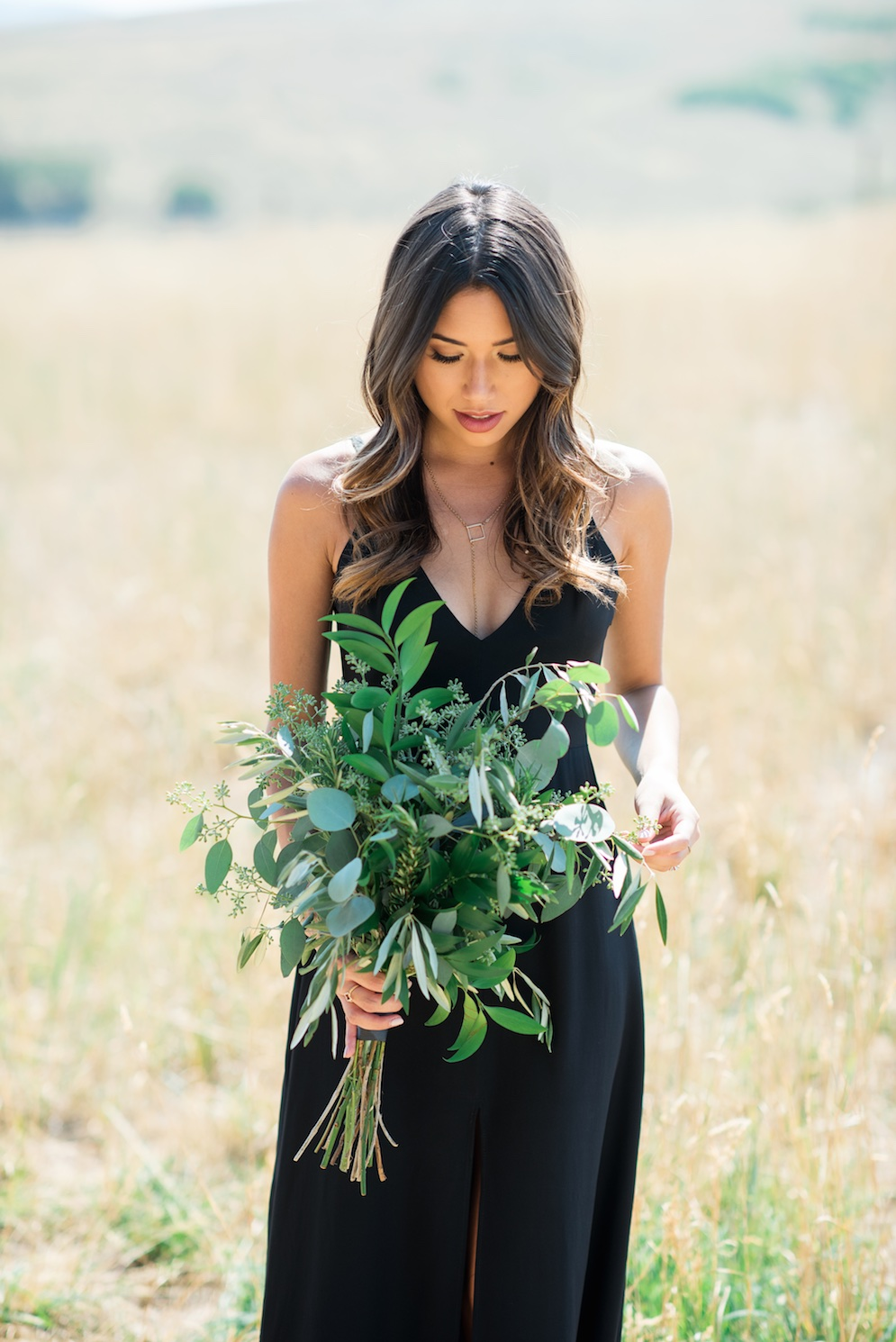 Tag Ranch Destination Park City Utah Wedding Flowers Calie Rose pantone color of the year greenery wedding flower bouquet all greenery bouquet black bridesmaid dress