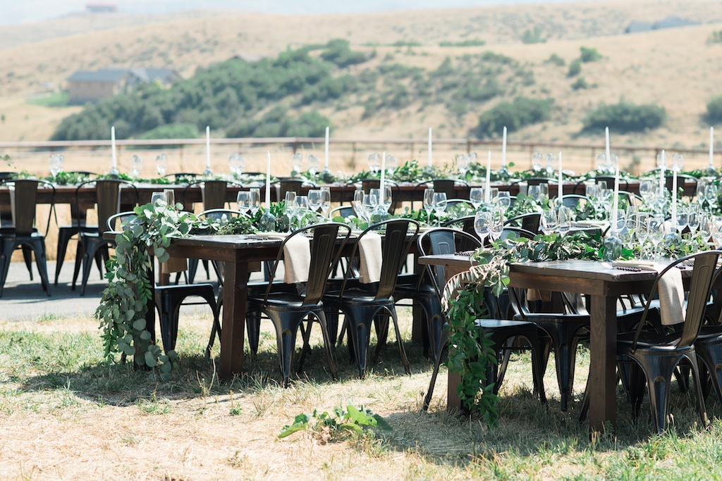 Tag Ranch Destination Park City Utah Wedding Flowers Calie Rose pantone color of the year greenery wedding inspiration greenery table garlands modern ranch wedding lush green table garlands