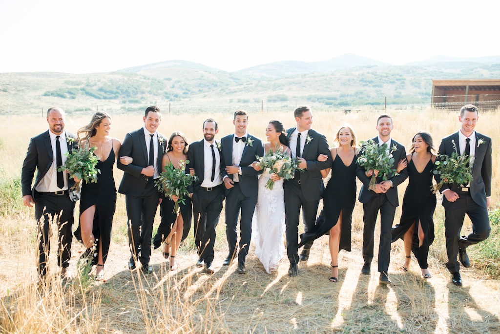 Tag Ranch Destination Park City Utah Wedding Flowers Calie Rose black and white wedding bridal party inspiration greenery wedding bouquets greenery bridesmaids bouquets greenery pantone color of the year wedding