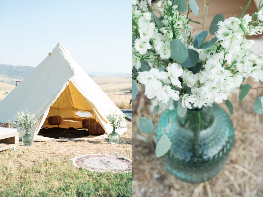 Tag Ranch Destination Park City Utah Wedding Flowers Calie Rose teepee wedding tall white delphinium in aqua jar teepee wedding inspiration