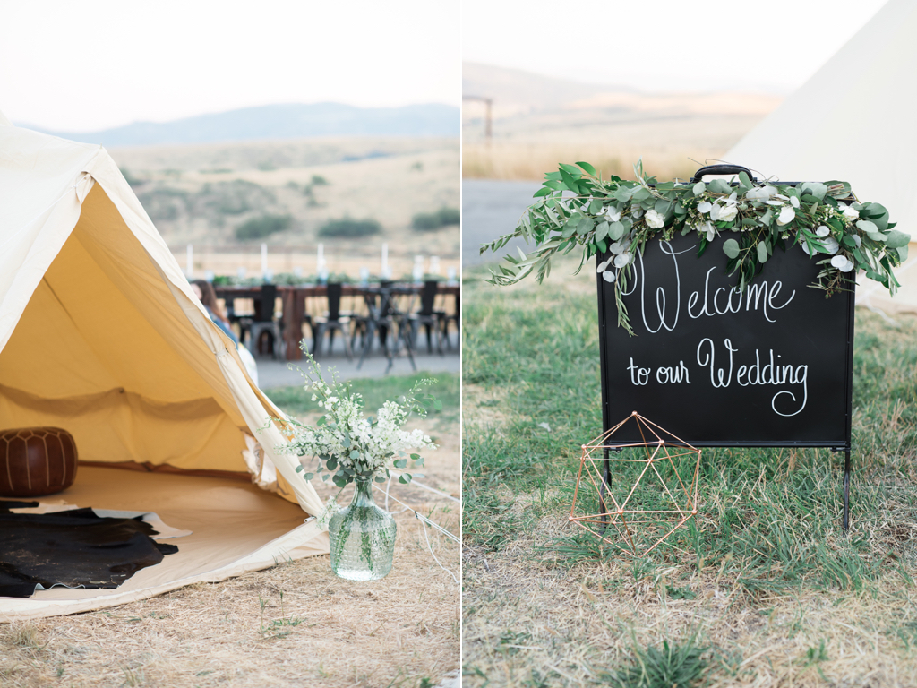 Tag Ranch Destination Park City Utah Wedding Flowers Calie Rose welcome sign garland greenery teepee wedding inspiration teepee wedding