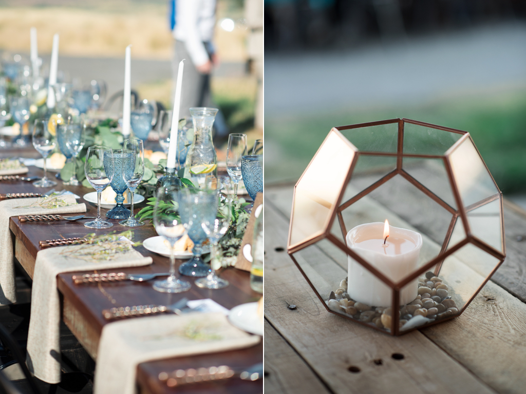 Tag Ranch Destination Park City Utah Wedding Flowers Calie Rose geometric candle holders lush green table garland greenery pantone wedding inspiration