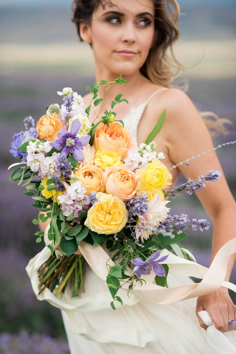 South of France Wedding, lavender field wedding, lavender wedding ideas, lavender inspired wedding, wedding flowers utah calie rose, stunning summer wedding bouquets, yellow peach lavender wedding bouquet ideas