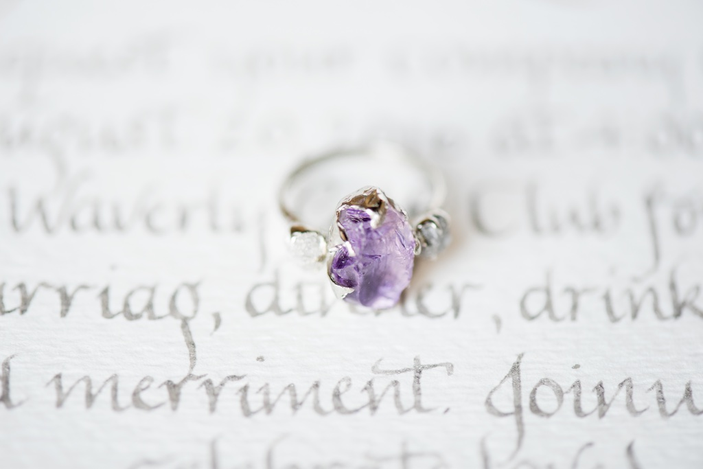 lavender wedding ring, amethyst wedding ring ideas, non traditional wedding ring ideas utah calie rose