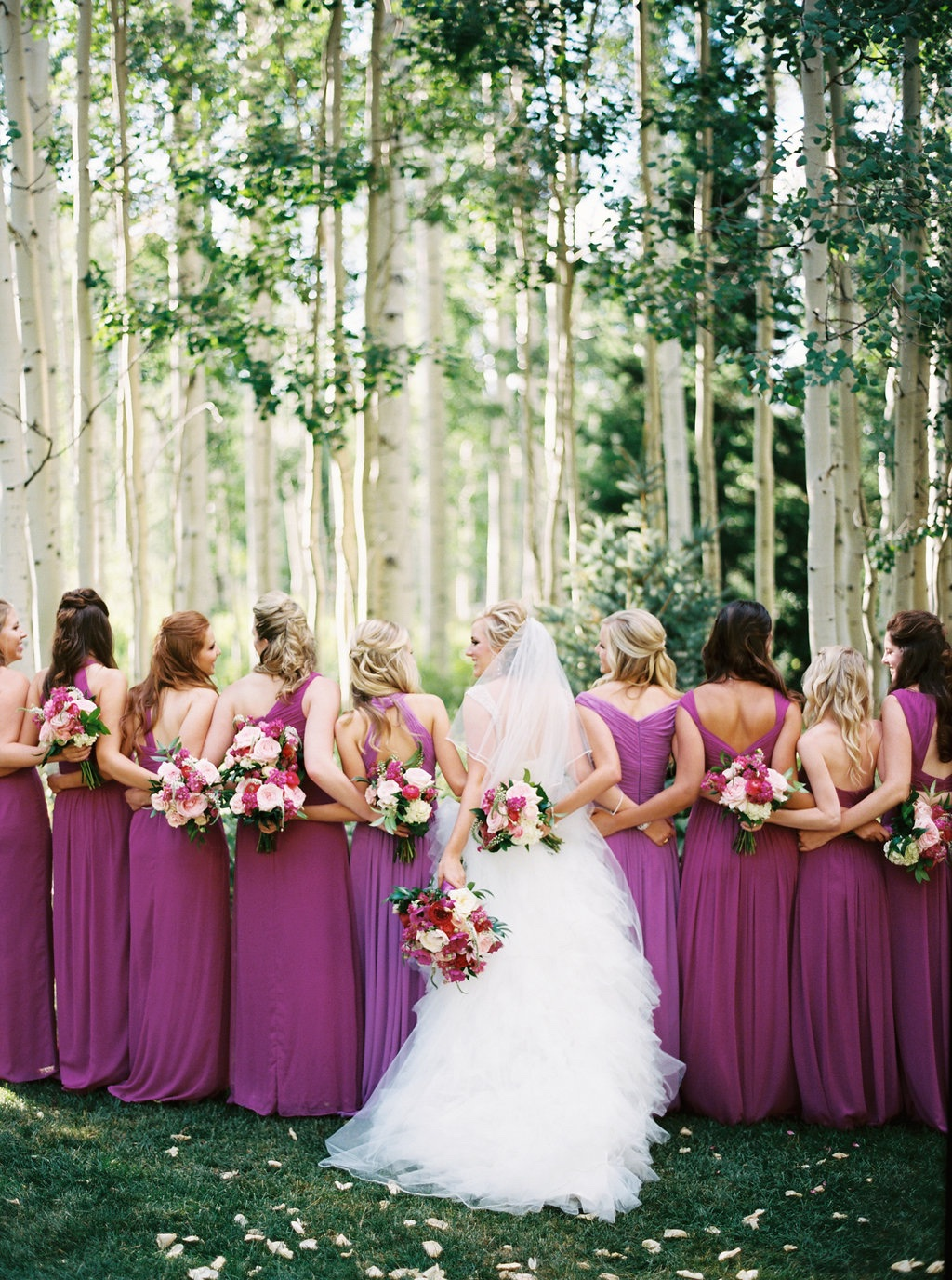 fuchsia bridesmaid dresses, fuchsia wedding flower ideas, berry wedding flower ideas calie rose
