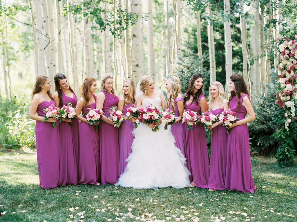 fuchsia wedding ideas, fuchsia bridesmaid dresses, fuchsia wedding flowers calie rose utah