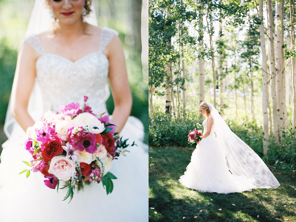 aspen meadows at wolf creek ranch destination park city utah wedding flowers calie rose, fuchsia berry tone wedding bouquets ideas