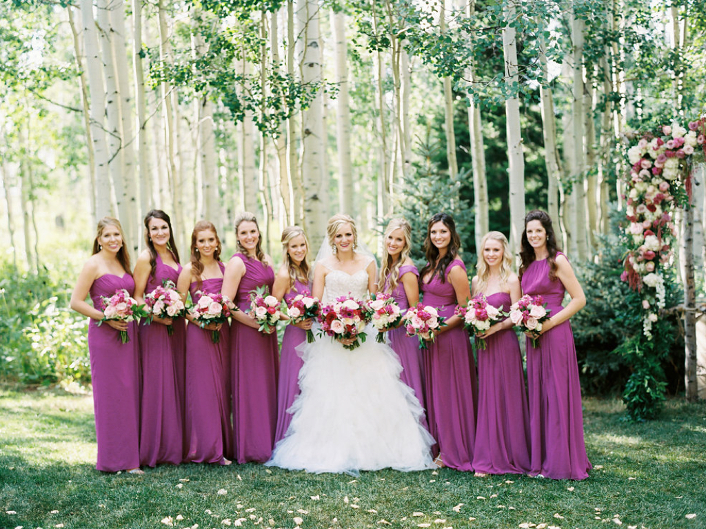 fuchsia wedding flower ideas, fuchsia bridesmaid dresses park city utah calie rose