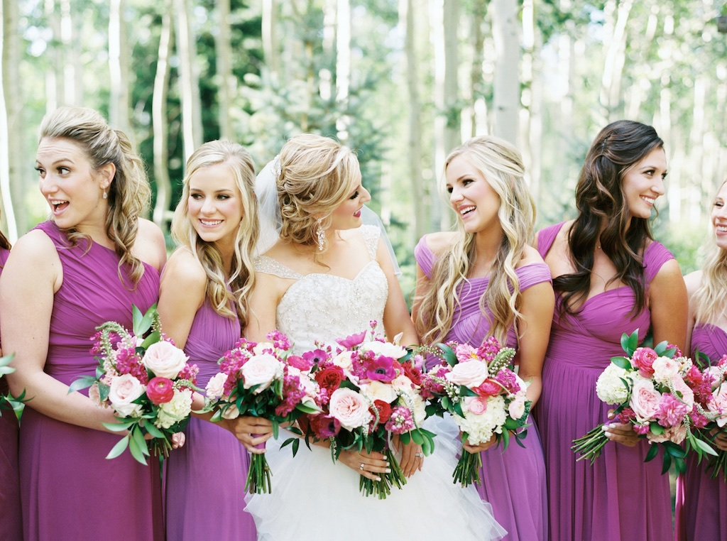aspen meadows at wolf creek ranch destination park city utah wedding flowers calie rose fuchsia wedding flower ideas